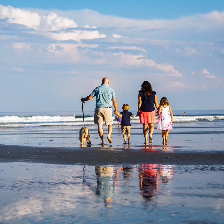 family walking on beach with dog