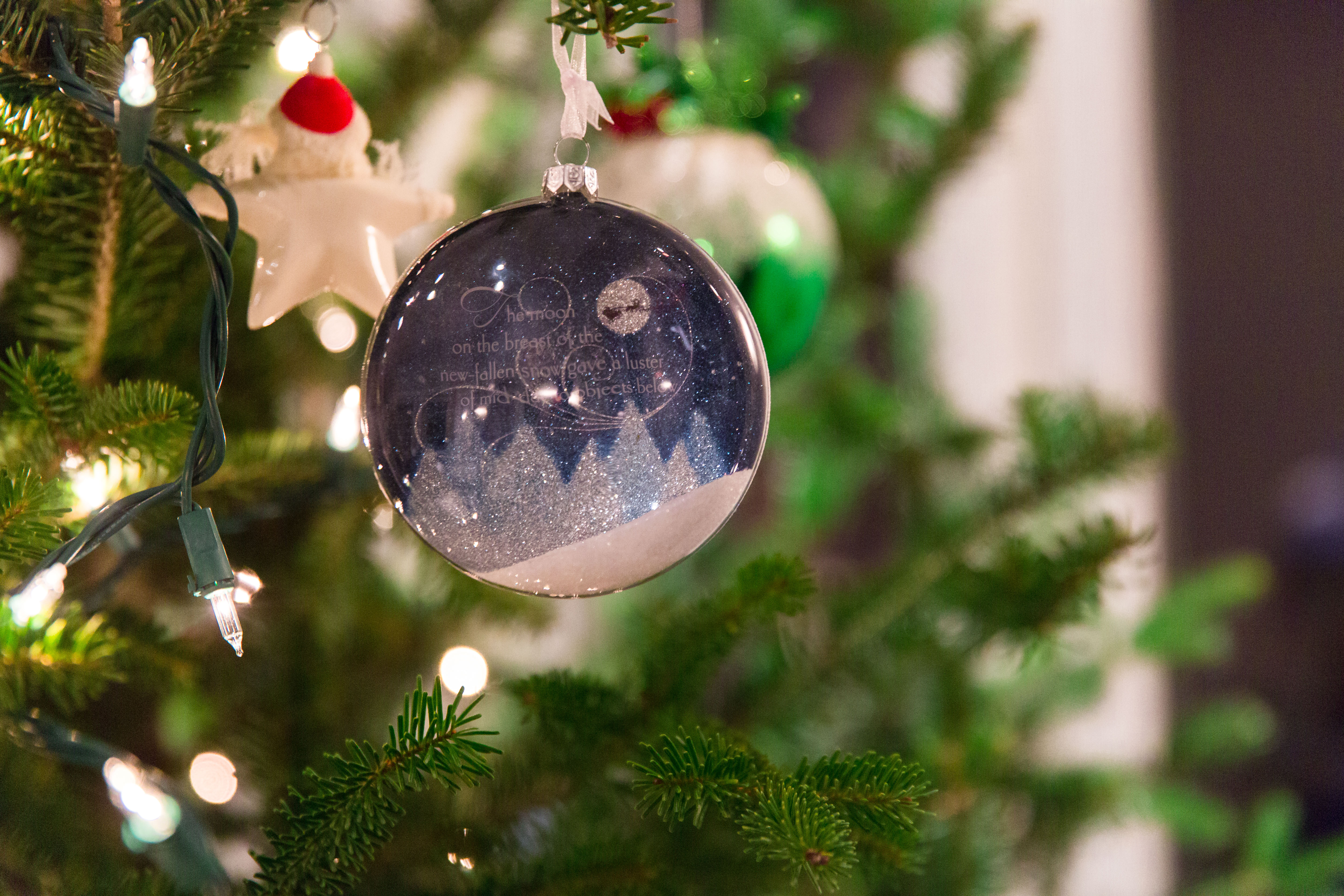 close up of blue and white sparkly ornament on christmas tree
