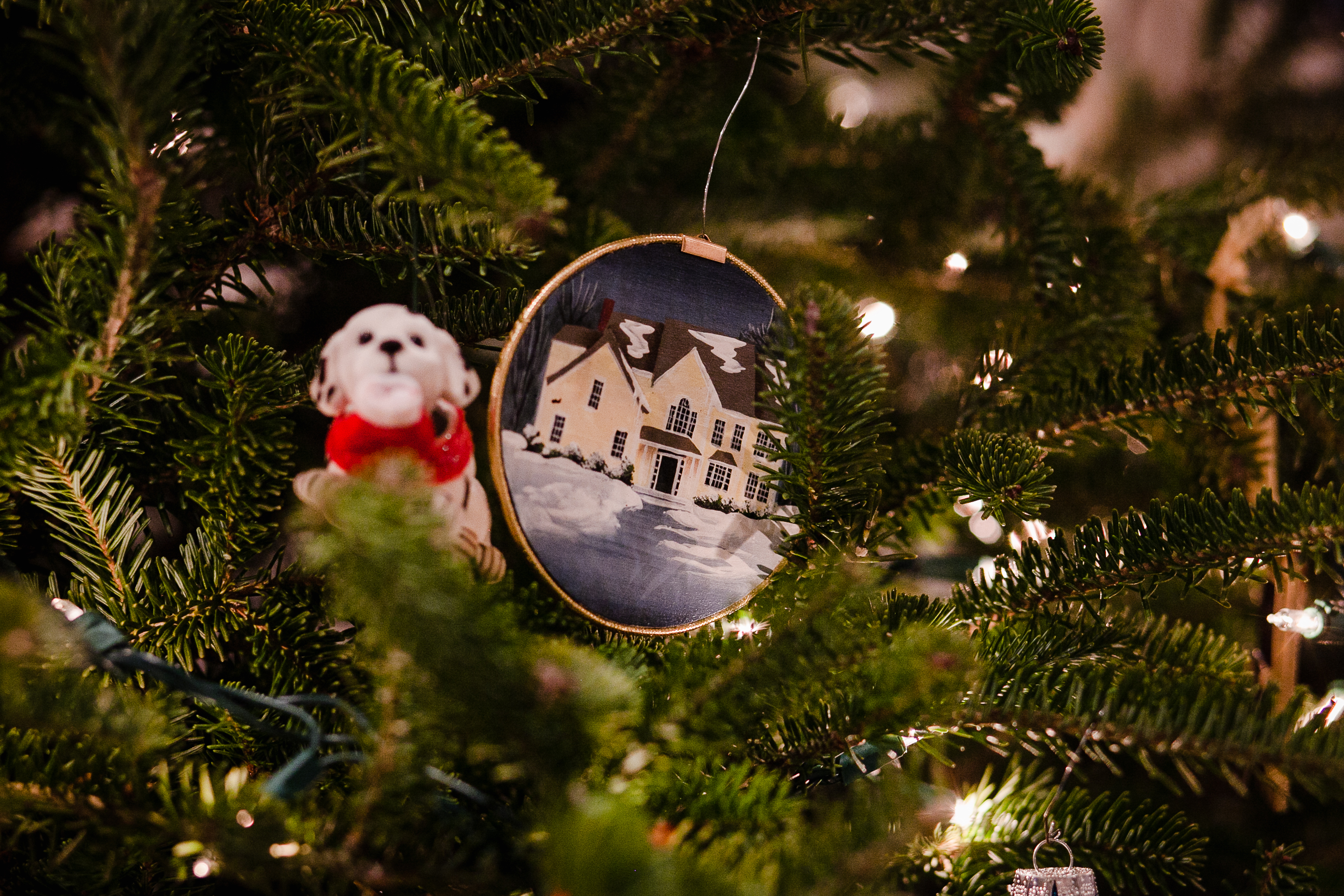 ornament with yellow house and snow