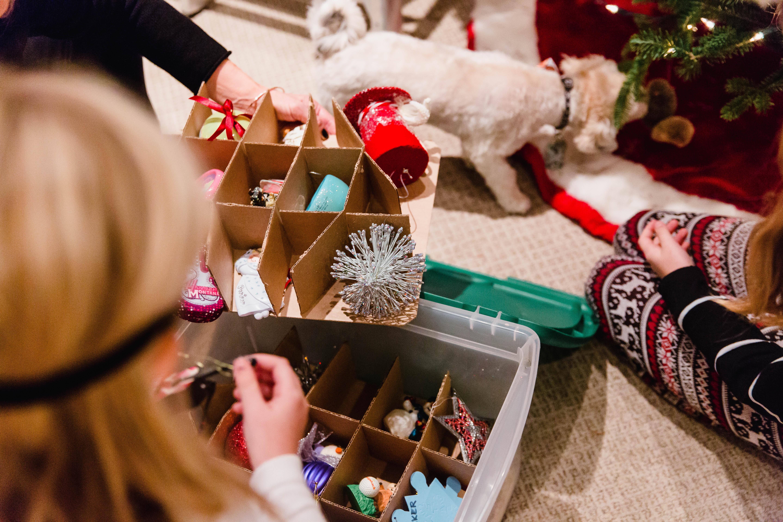 box of holiday ornaments