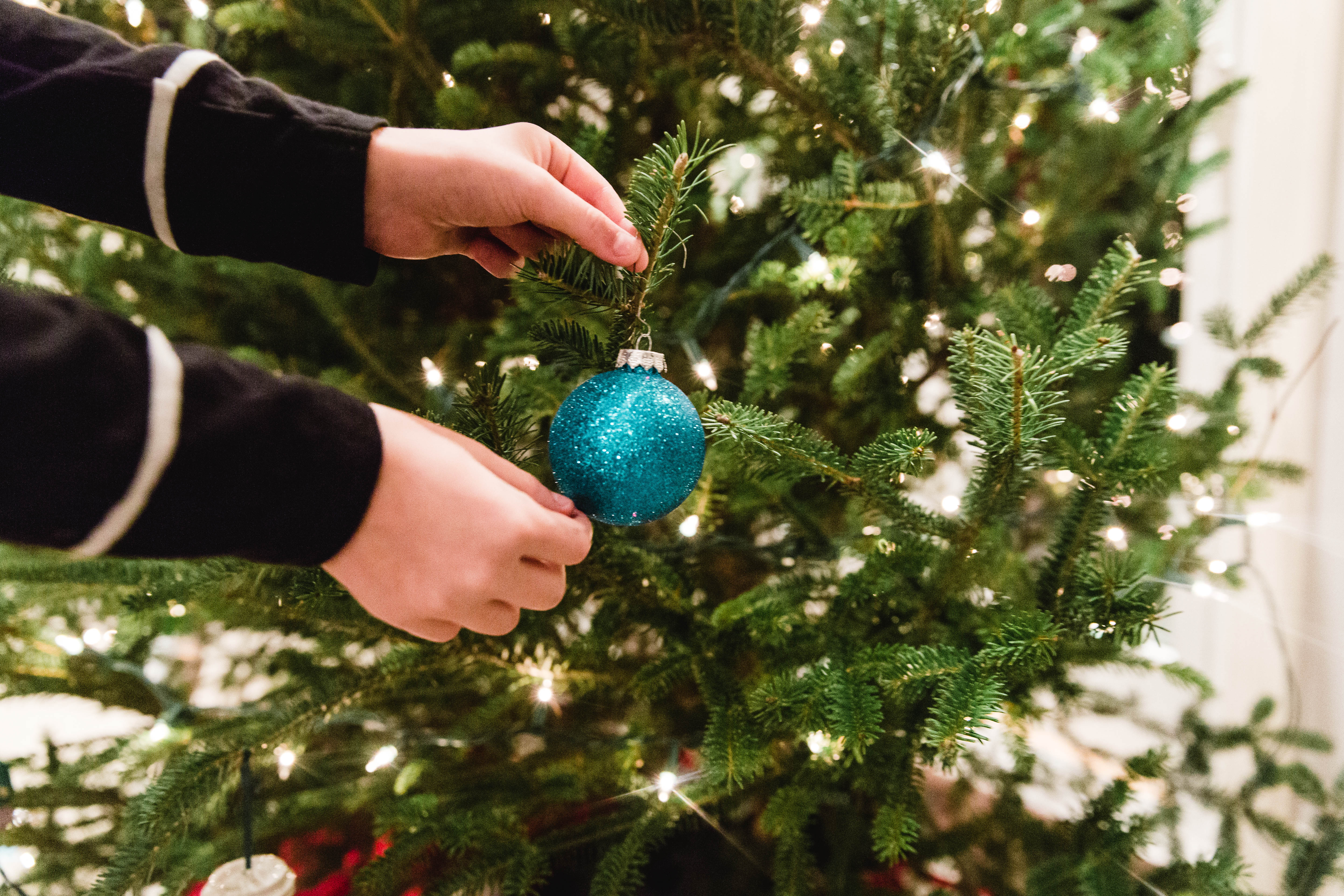 close up of hands hanging blue sparkly ornament on tree