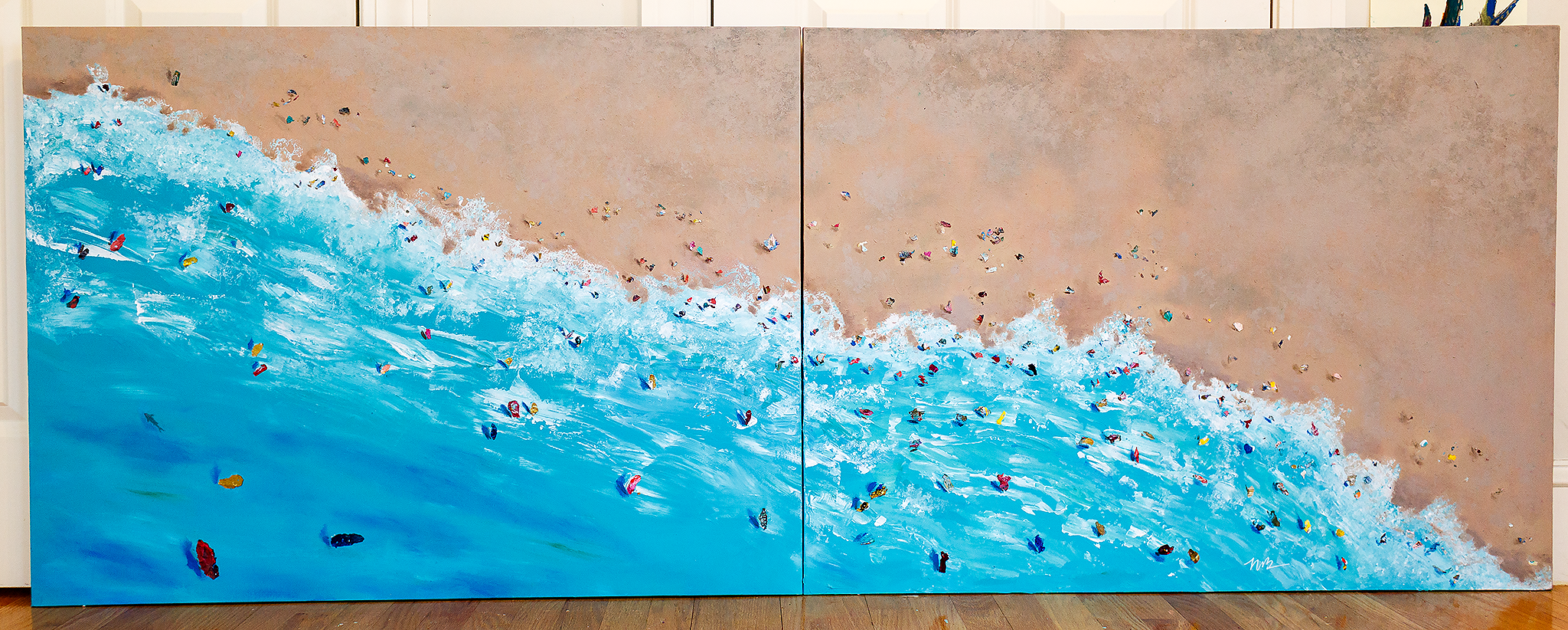 aerial painting of seascape on canvas
