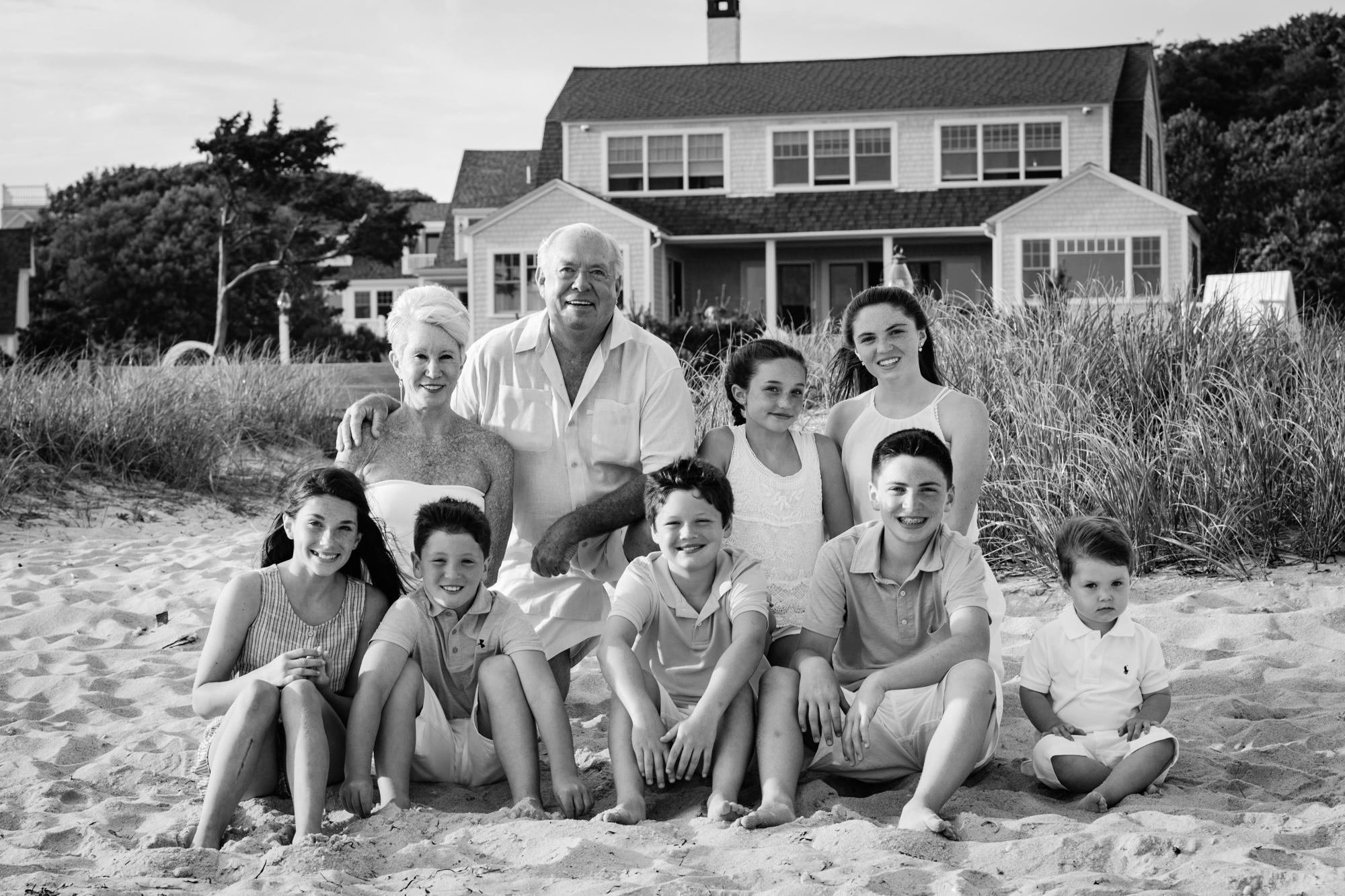 Grandparents with grandchildren black and white