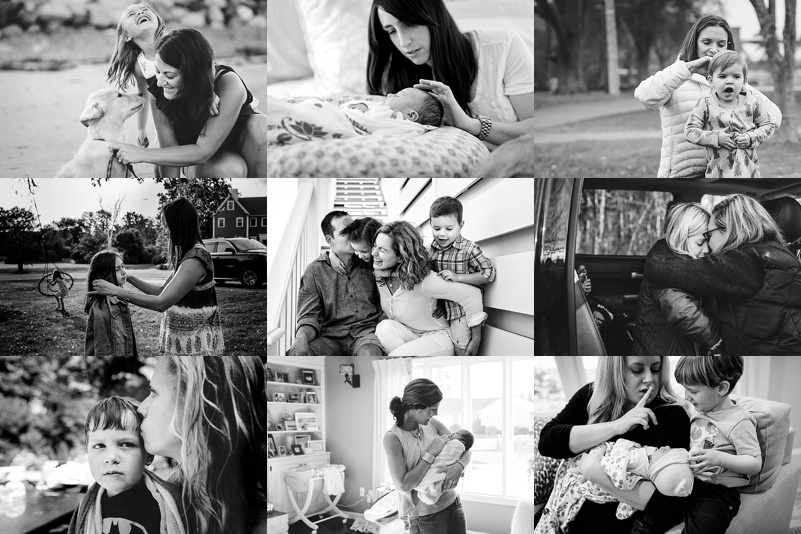collage of black and white photos of mothers with their children